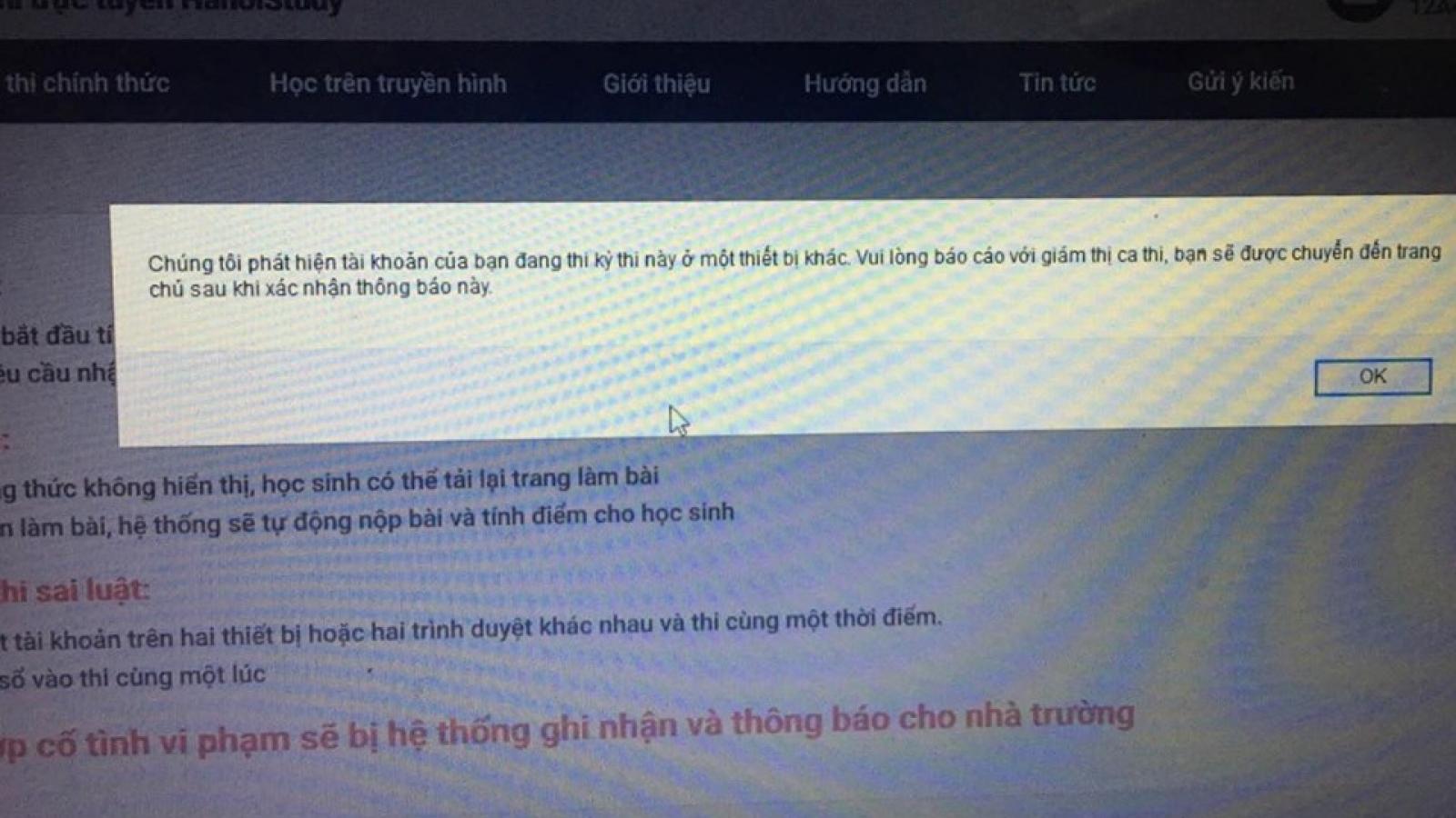 Thi thử online ở Hà Nội: 19h30 làm bài, 21h học sinh vẫn chưa thể đăng nhập