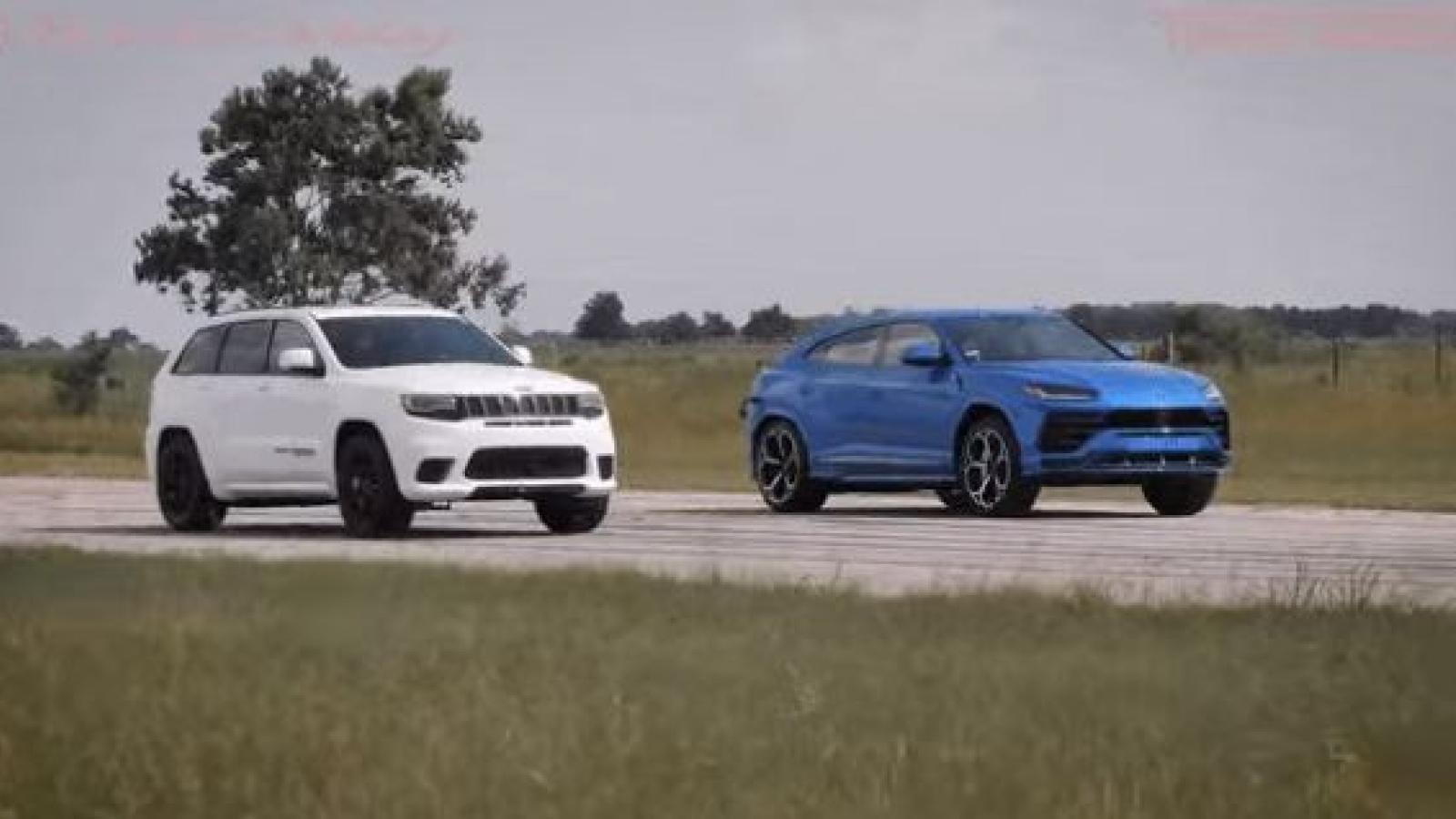 Jeep Grand Cherokee Trackhawk đọ tốc độ cùng siêu SUV Lamborghini Urus