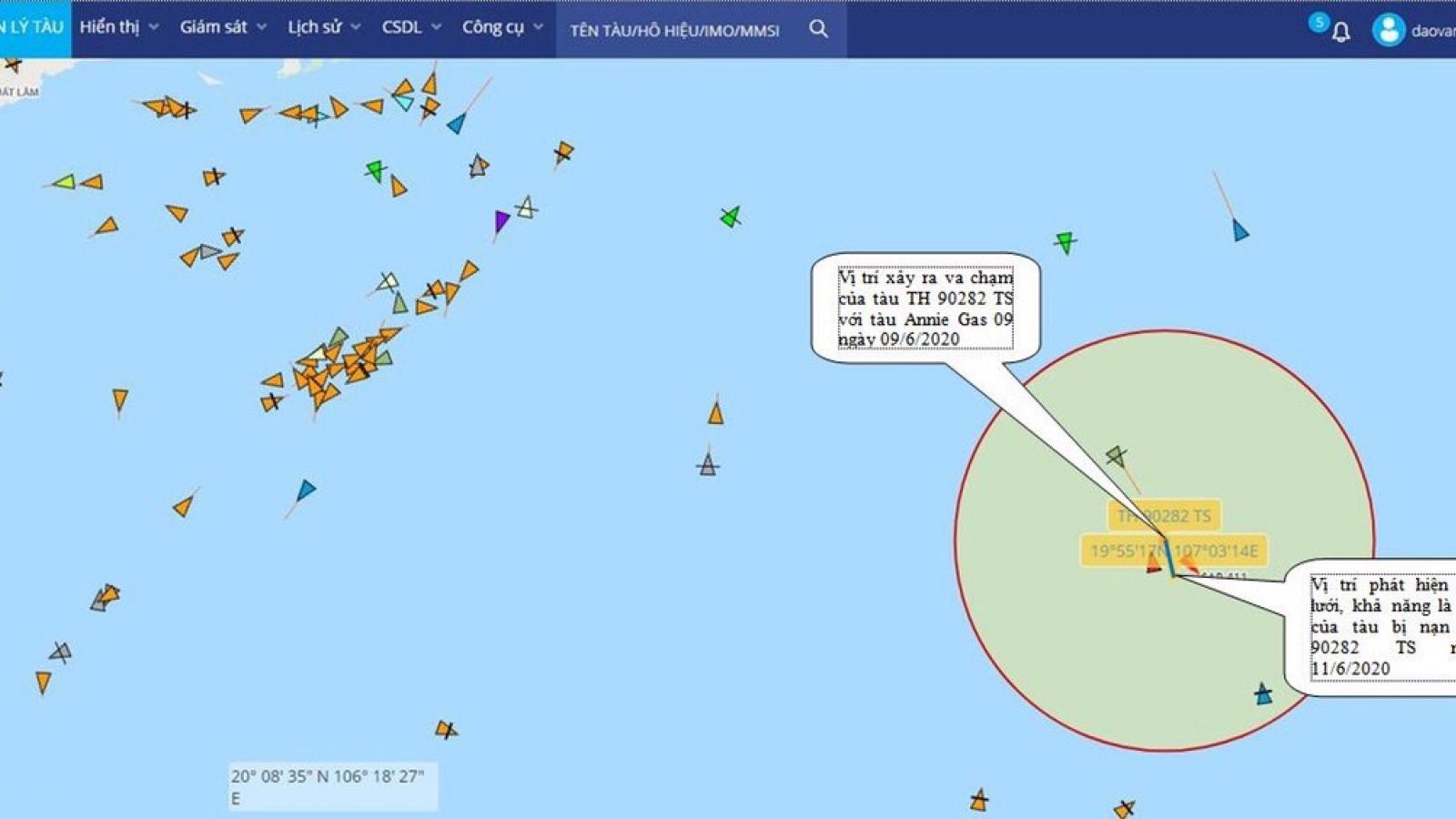 Tìm thấy vị trí tàu cá chở 4 thuyền viên bị đắm ở Vịnh Bắc Bộ