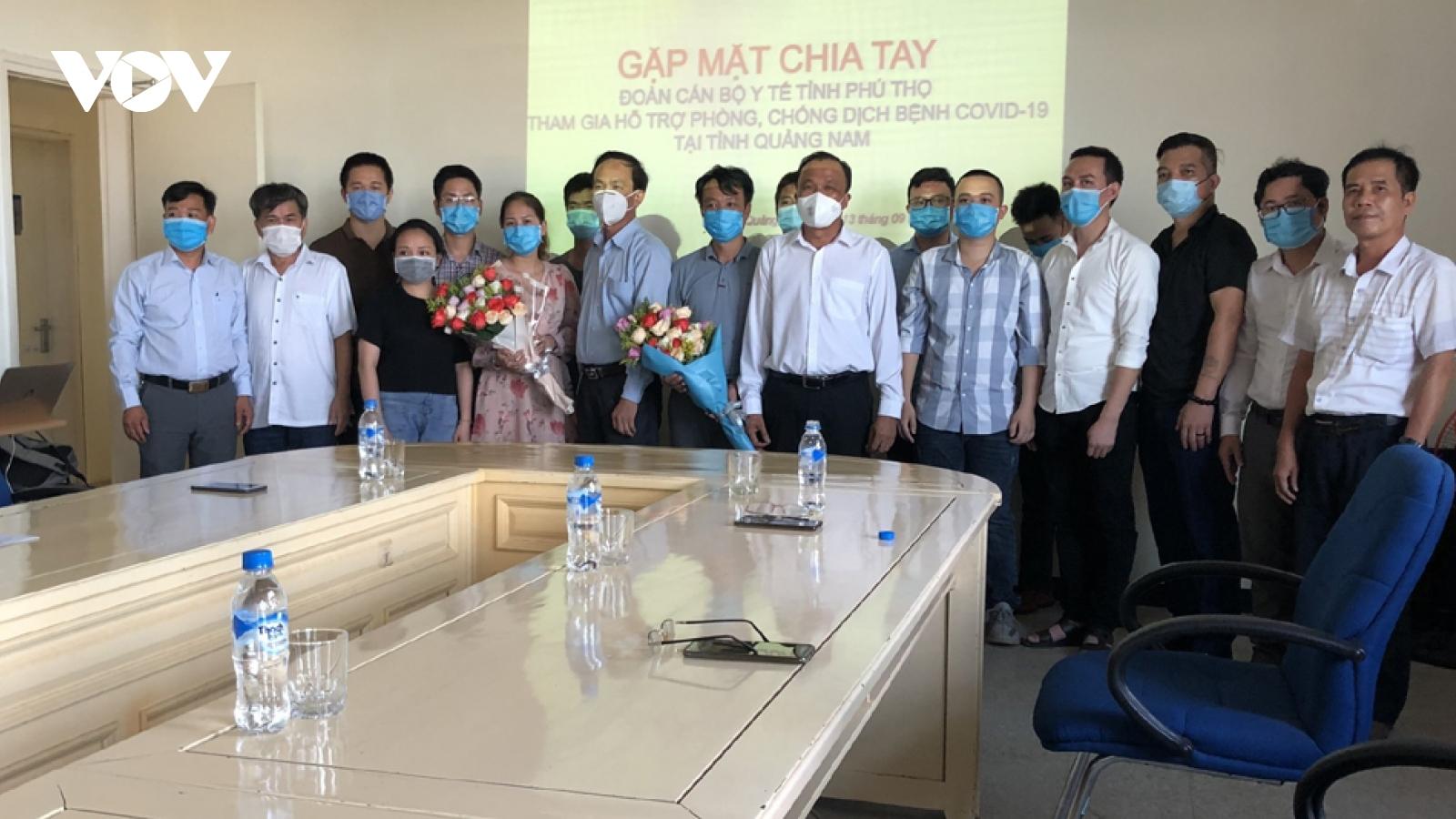 Đoàn y, bác sĩ Phú Thọ rời Quảng Nam sau hơn một tháng hỗ trợ chống Covid-19