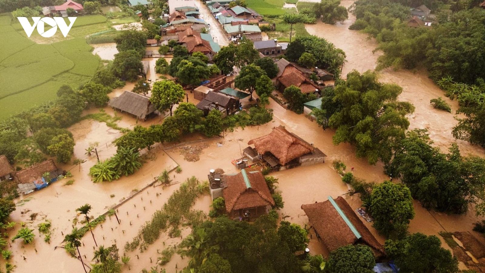 Mưa lớn tiếp tục gây ngập lụt tại huyện Lục Yên (Yên Bái)