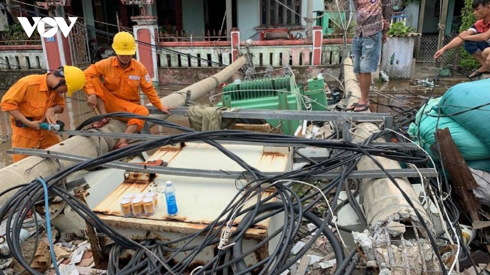 Bão nhỏ, cột điện gãy đổ nhiều:Tạm dừng sử dụng cột bê tông dự ứng lực.