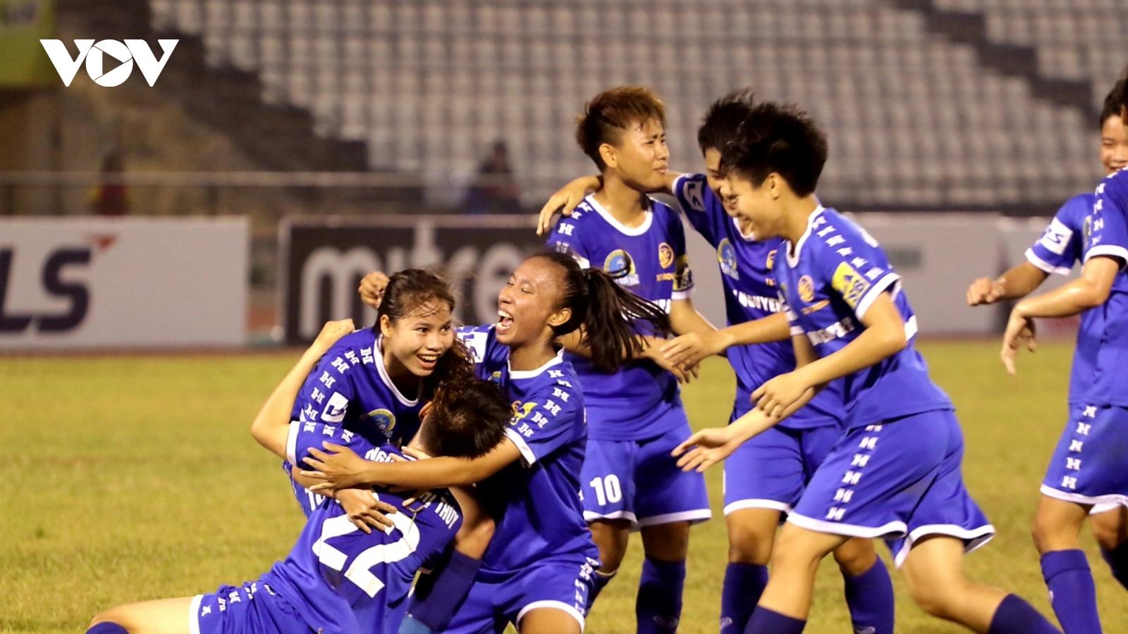 Thái Nguyên T&T nhọc nhằn hạ Sơn La ngày kết thúc lượt đi giải bóng đá nữ VĐQG