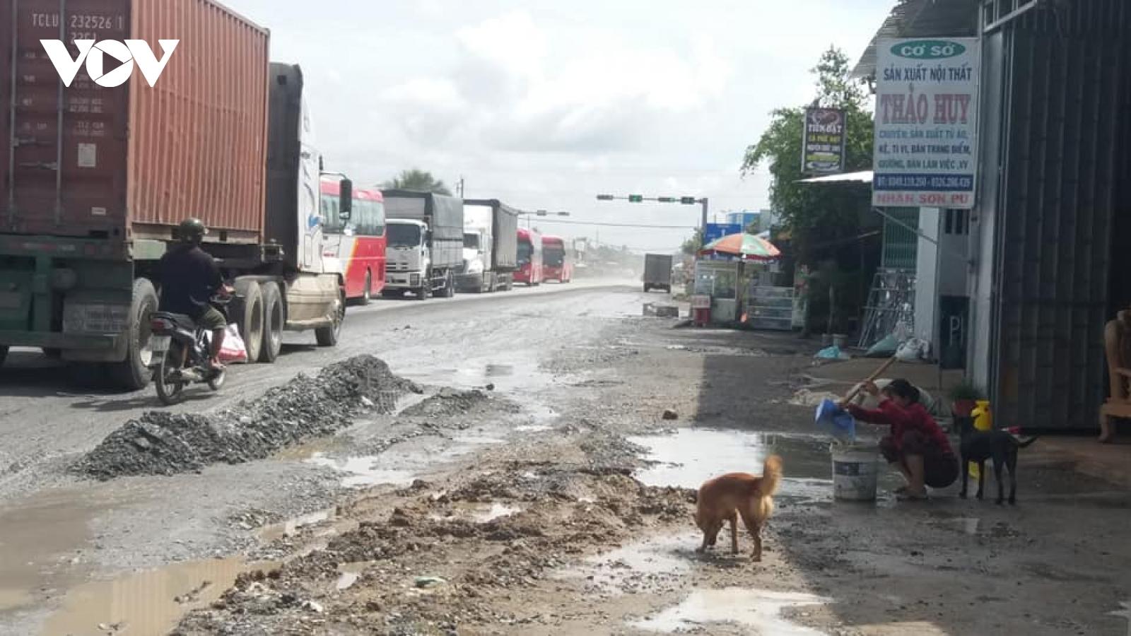 Tuyến tránh Cai Lậy hư hỏng nặng, bất ổn về an toàn giao thông