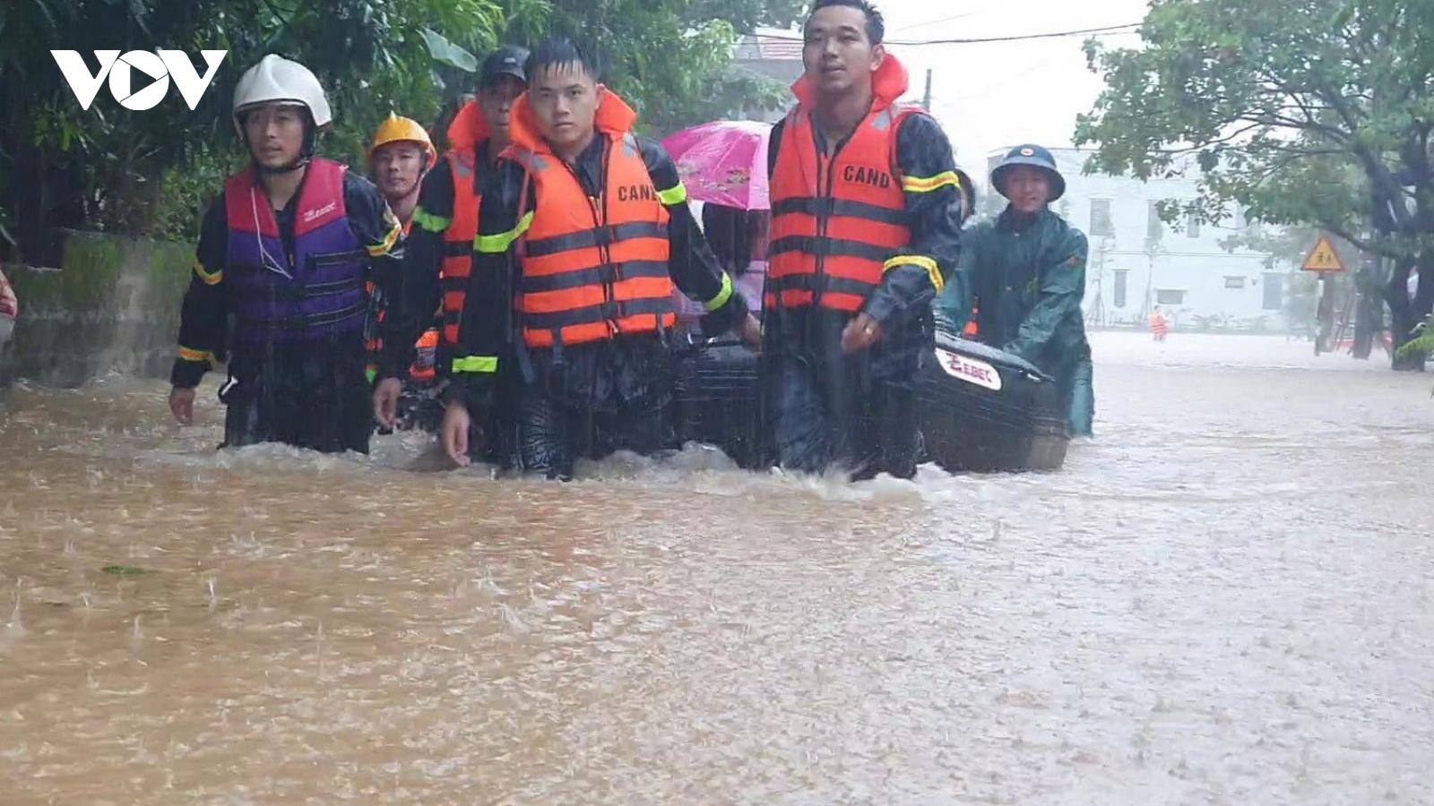 Lại xuất hiện mưa lớn gây ngập lụt diện rộng ở Quảng Trị