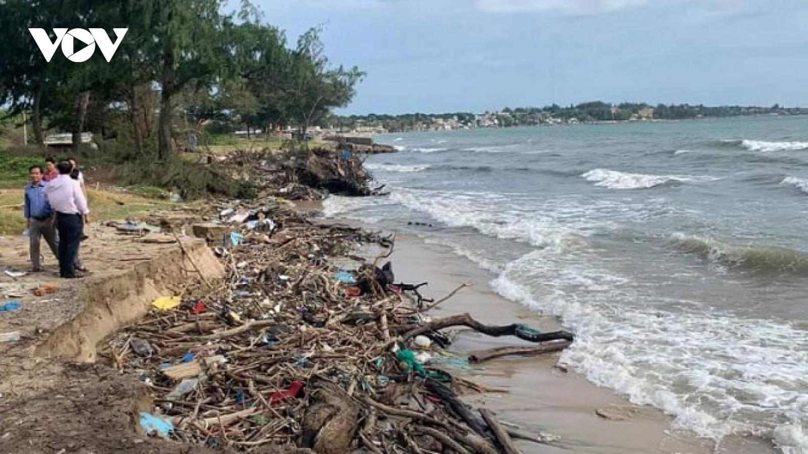 Sạt lở nghiêm trọng khu vực ven biển ở Bình Thuận