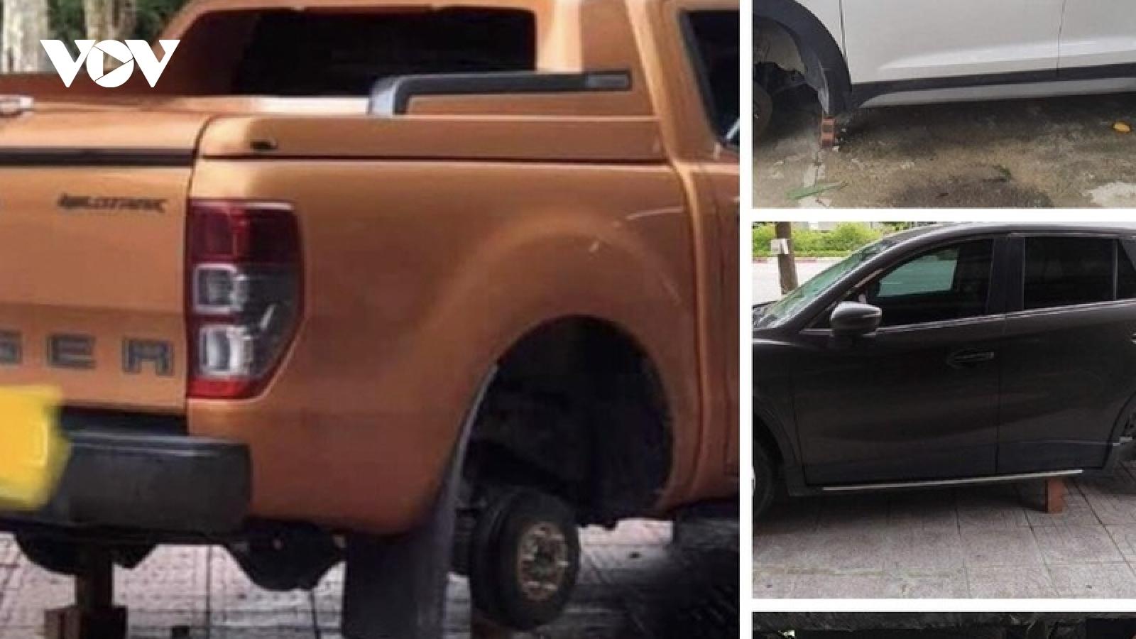 Bắt đối tượng tháo trụi hàng loạt bánh xe ô tô ở Vinh