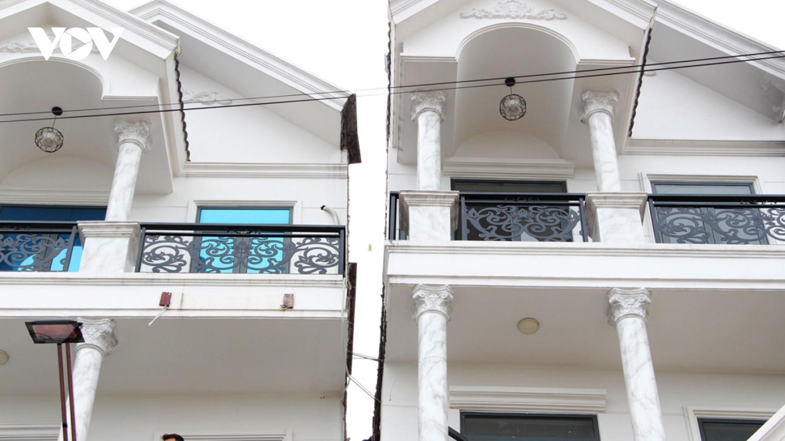"""Căn nhà 4 tầng nghiêng đổ ở Bình Dương đã được """"thần đèn"""" nắn thẳng"""