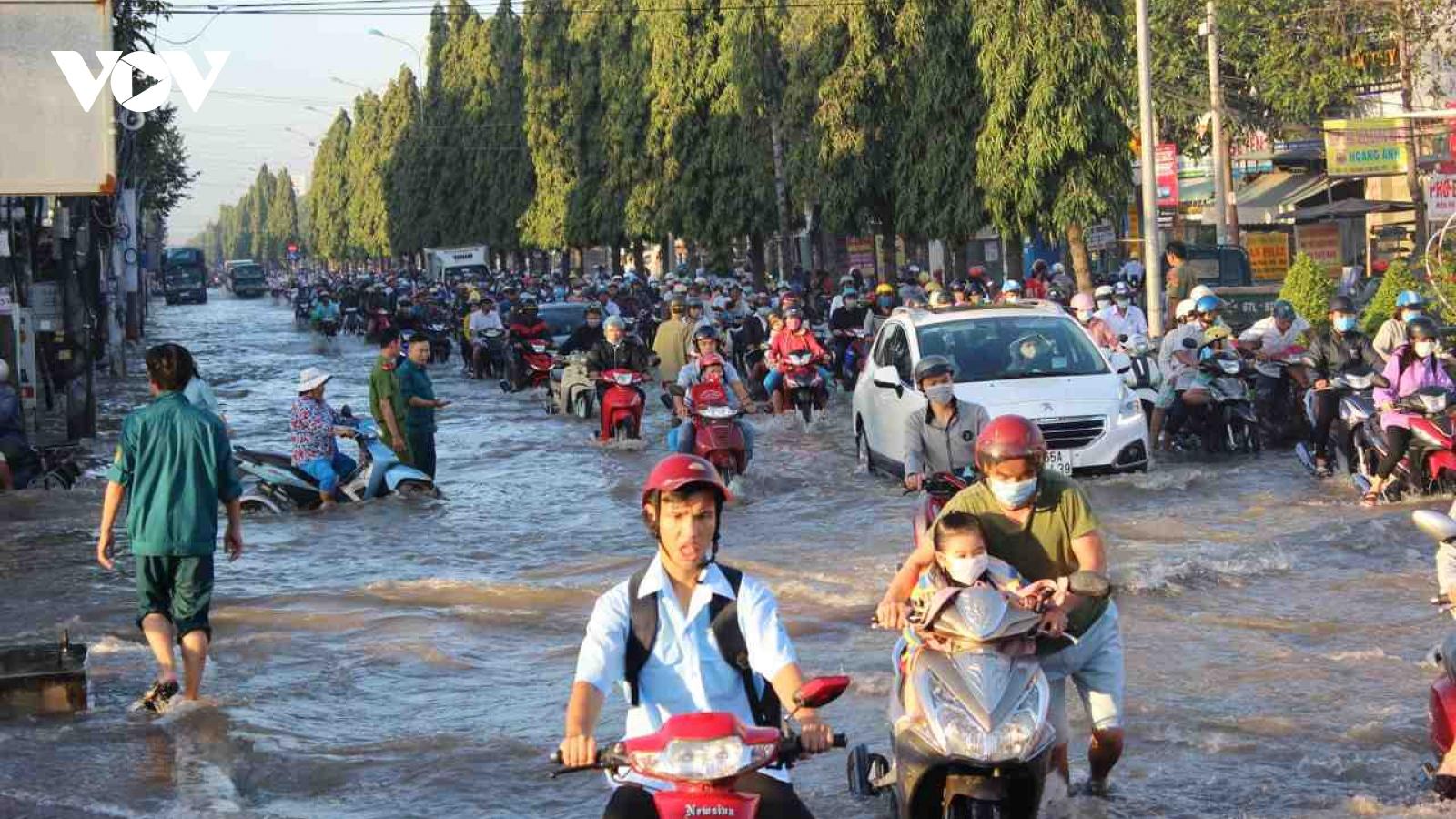 Ảnh: Triều cường vượt báo động 3 người dân Cần Thơ chật vật trên các tuyến đường