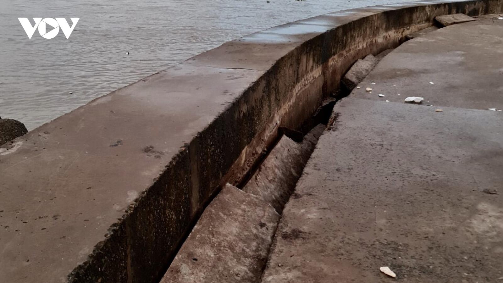 Triều cường dâng caolàm sụt lún phía sau thân kè đê biển Nhà Mát (Bạc Liêu)