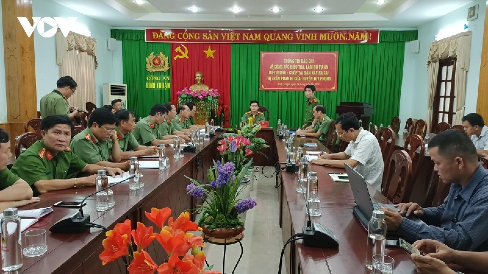 Công an Bình Thuận thông tin về vụ giết người cướp của