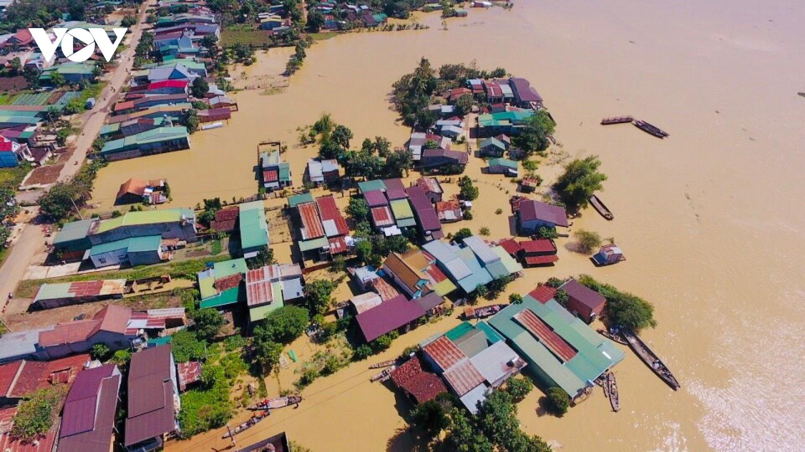 Nhiều nơi ở Đắk Lắk và ĐăkNông ngập lụt nghiêm trọng dù đã dứt mưa