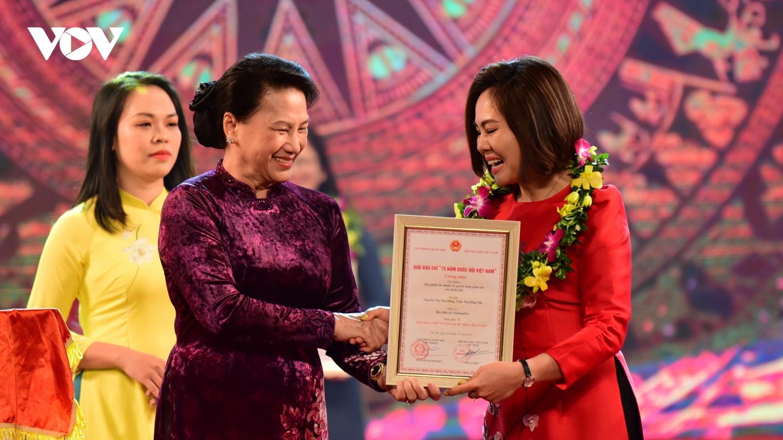 """Giải báo chí """"75 năm Quốc hội Việt Nam"""": VOV đoạt 3 giải"""