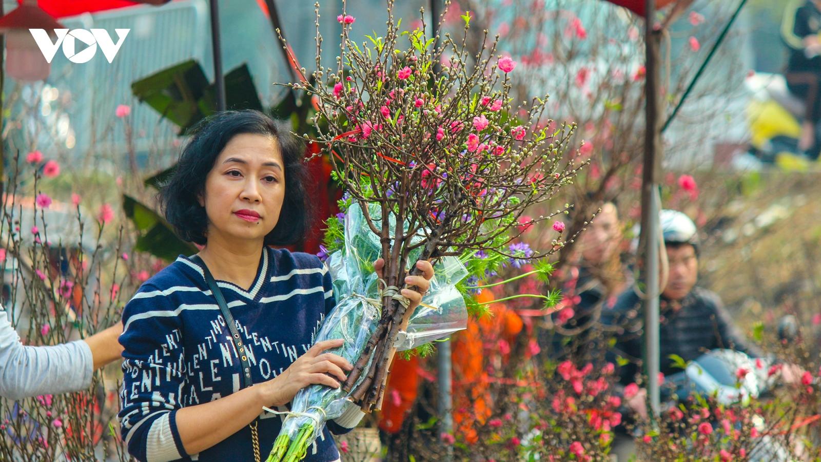 Chợ hoa Quảng Bá nhộn nhịp người mua đào chơi Tết