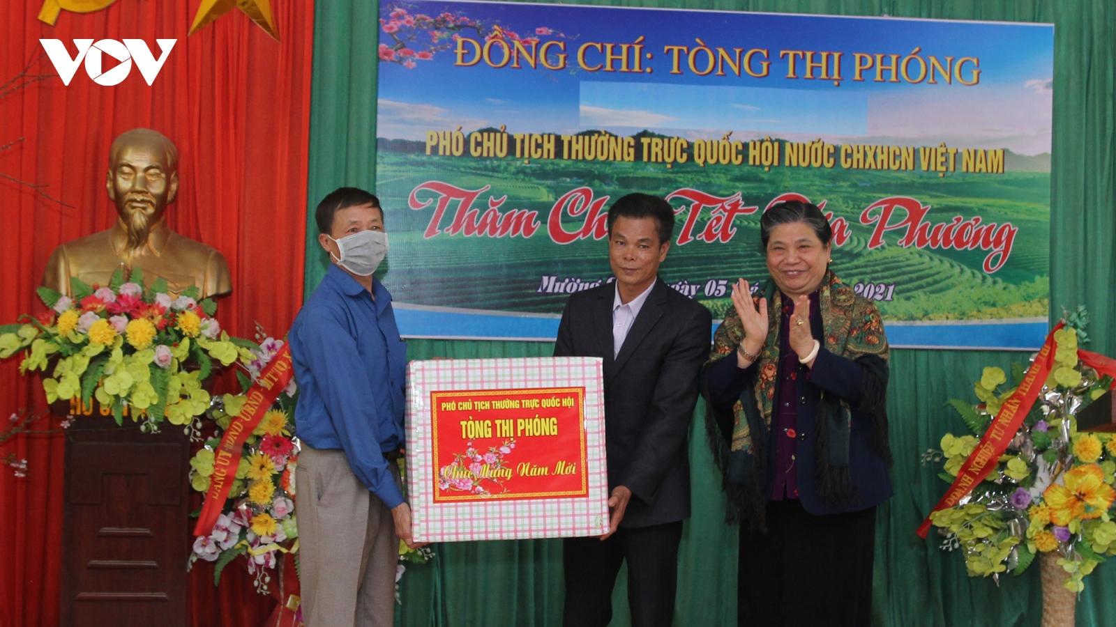Phó Chủ tịch thường trực Quốc hội Tòng Thị Phóng chúc Tết nhân dân bản Thái Hưng
