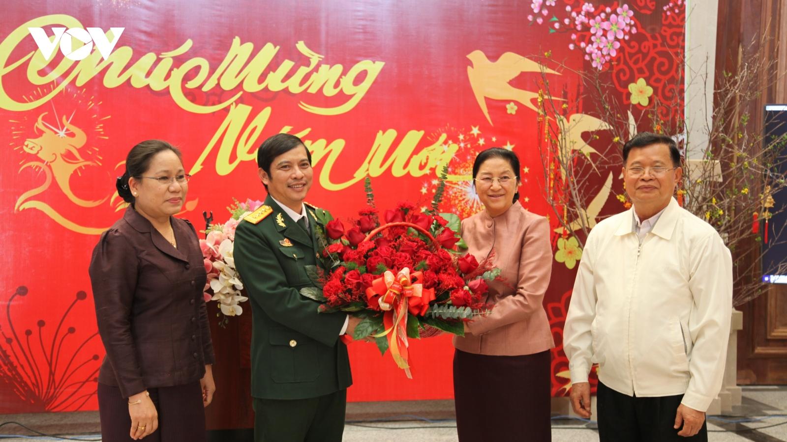 Lãnh đạo Quốc hội Lào chúc Tết Binh đoàn 11 thi công xây dựng Nhà Quốc hội Lào