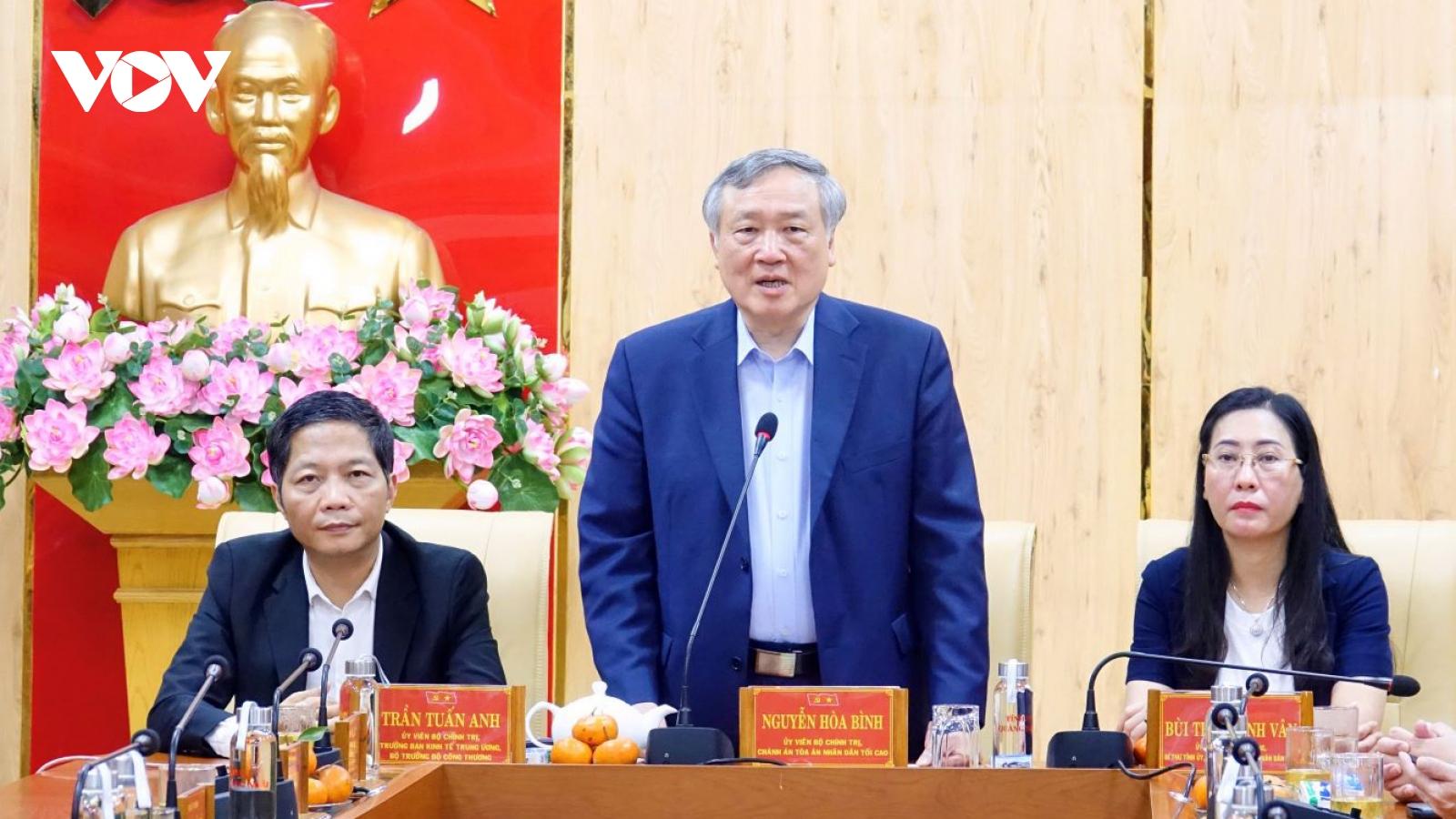 Ông Nguyễn Hòa Bình, Trần Tuấn Anh chúc Tết Đảng bộ,nhân dân Quảng Ngãi