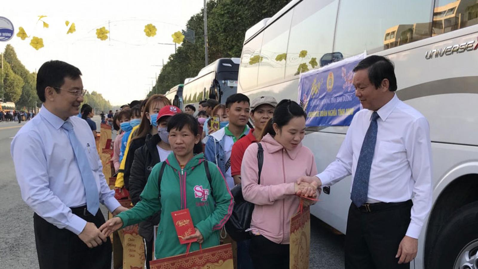 Bình Dương dừng tổ chức xe đưa công nhân về quê đón Tết để phòng dịch Covid-19