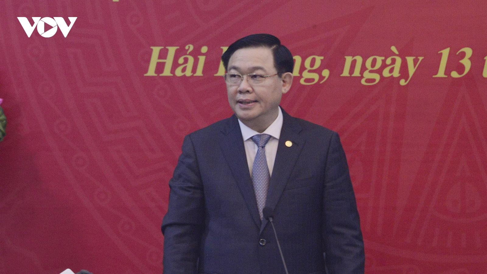 Chủ tịch Quốc hội làm việc với Ban Thường vụ Thành ủy, Ủy ban Bầu cử Hải Phòng