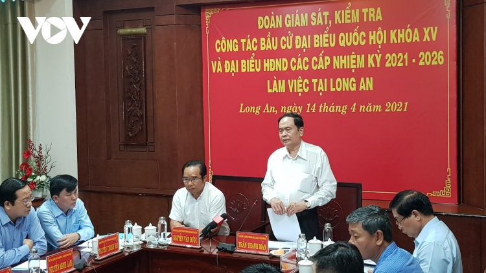 Đoàn giám sát, kiểm tra của Hội đồng Bầu cử Quốc gia làm việc tại Long An
