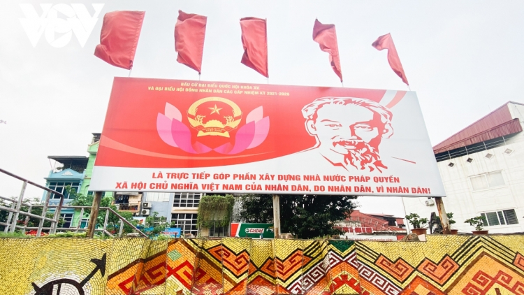 Flags and banners go on display in Hanoi ahead of national election day