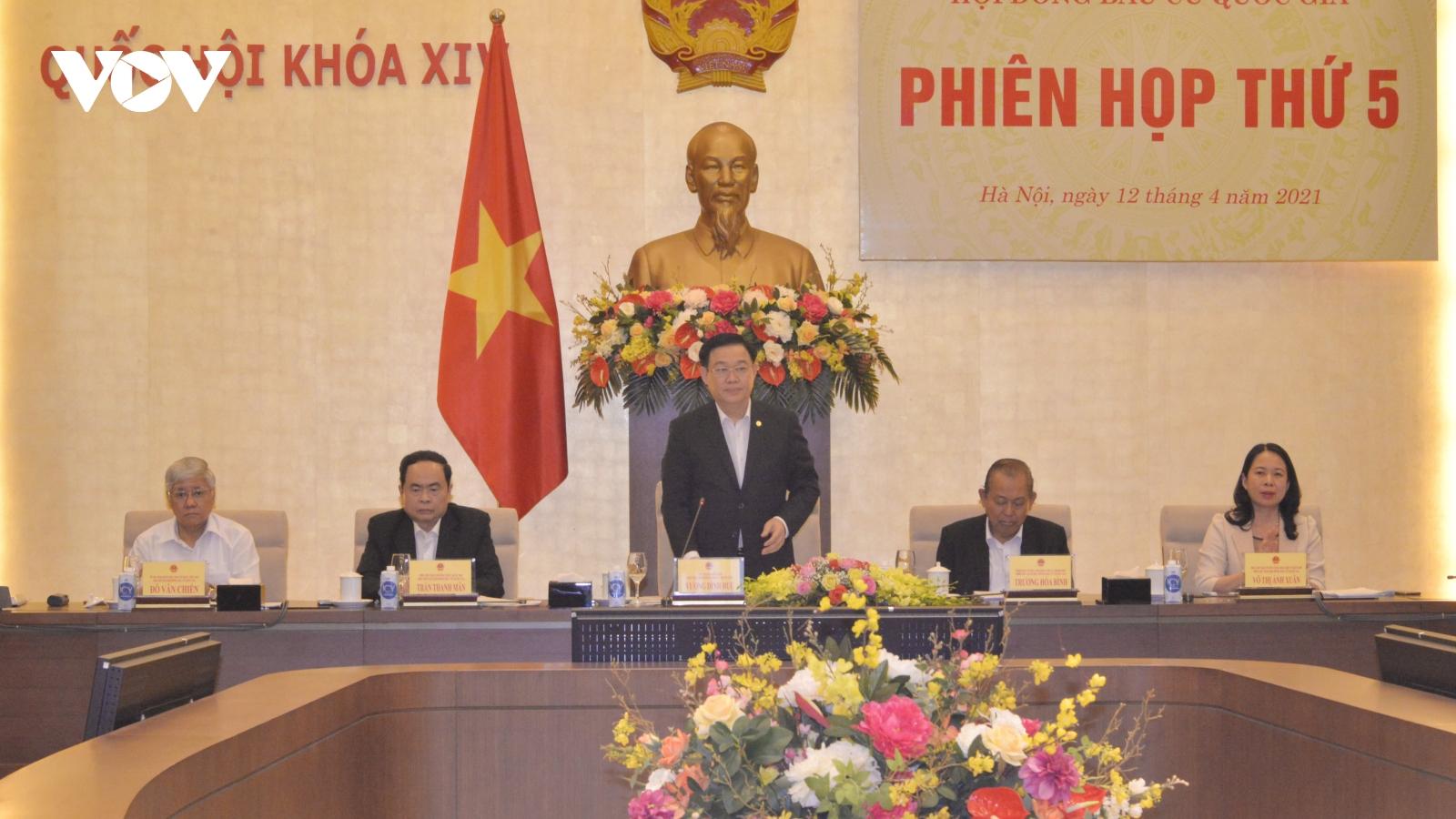 Chủ tịch Quốc hội Vương Đình Huệ chủ trì phiên họp thứ 5, Hội đồng bầu cử quốc gia