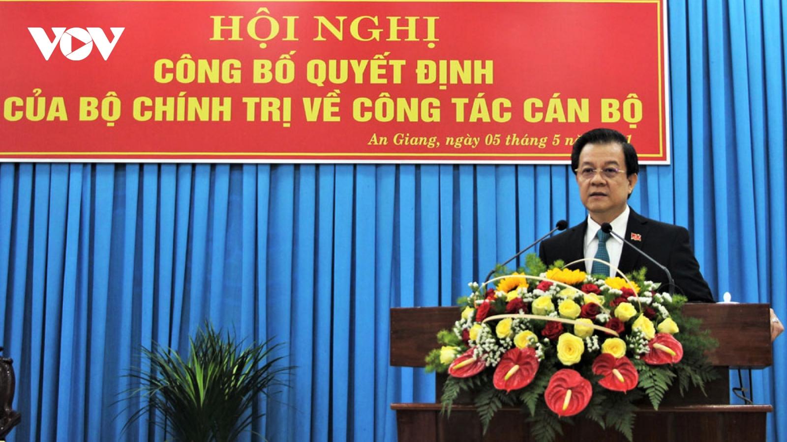 Ông Lê Hồng Quang giữ chức Bí thư Tỉnh ủy An Giang