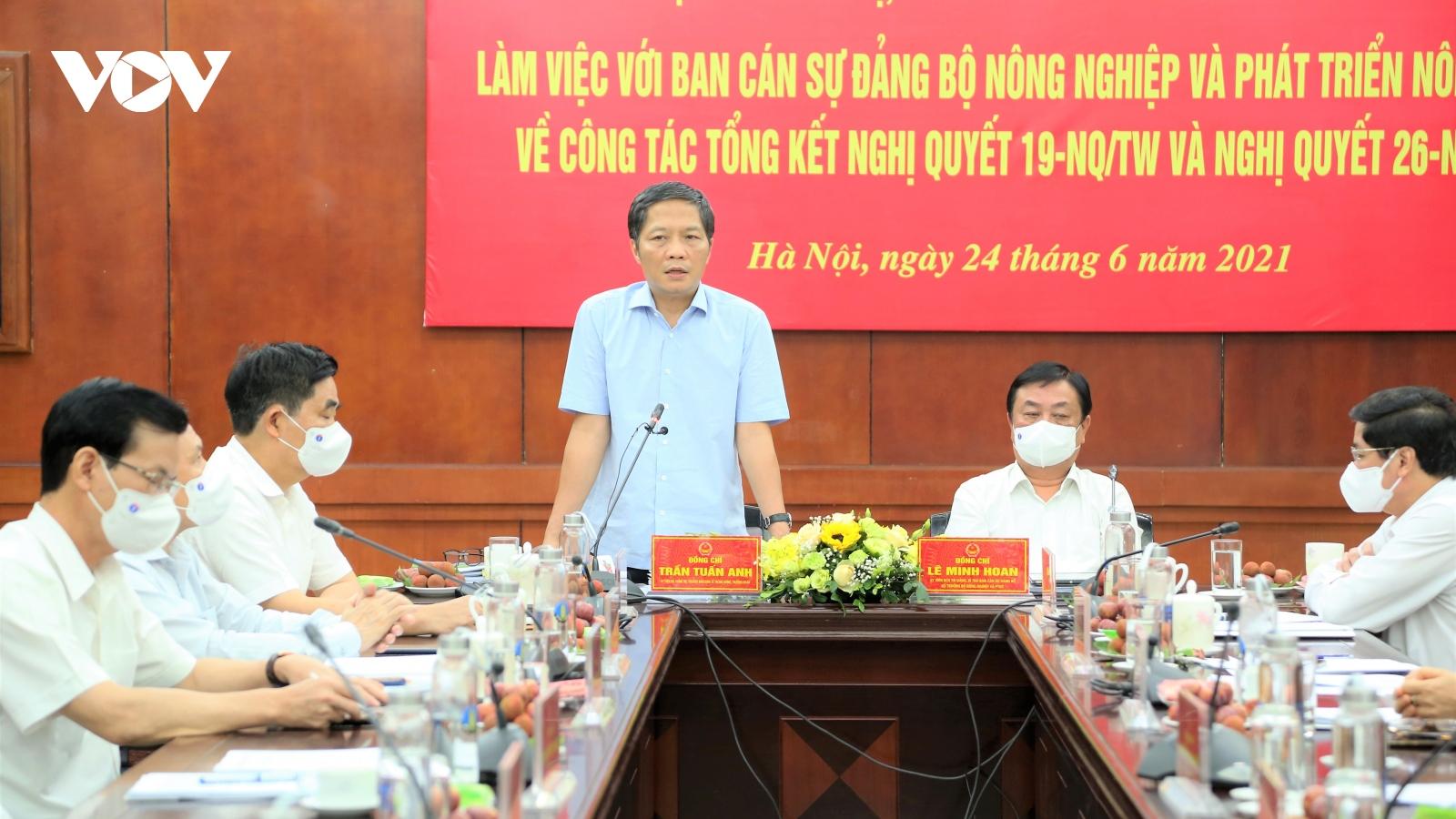 Ủy viên Bộ Chính trị Trần Tuấn Anh làm việc với Bộ Nông nghiệp và Phát triển nông thôn