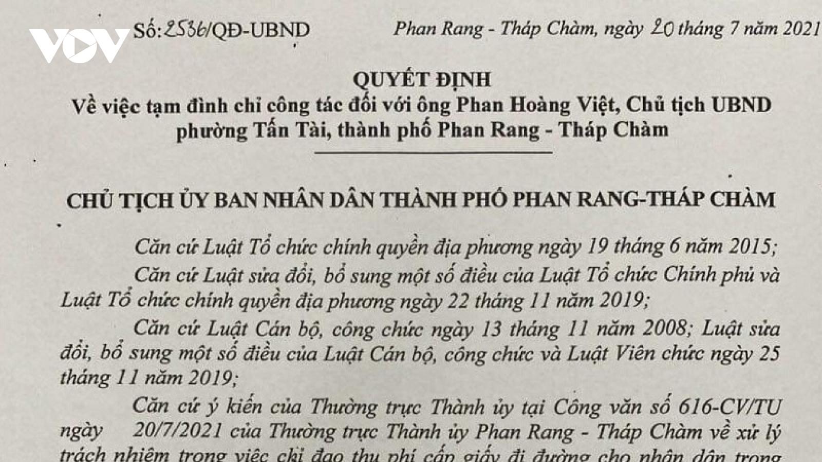 Ninh Thuậntạm đình chỉ công tác chủ tịch phường do vi phạm quy định phòng chống dịch
