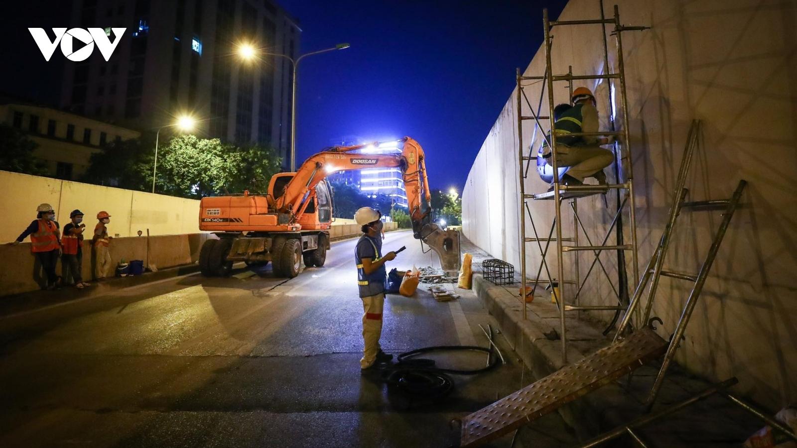 Bắt đầu sửa hầm Kim Liên, cấm phương tiện một chiều, hướng Đại Cồ Việt - Xã Đàn