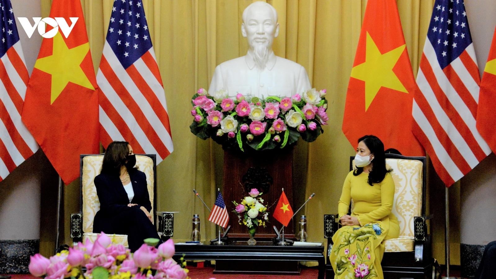 Phó Chủ tịch nước Võ Thị Ánh Xuân tiếp Phó Tổng thống Hoa Kỳ Kamala Harris