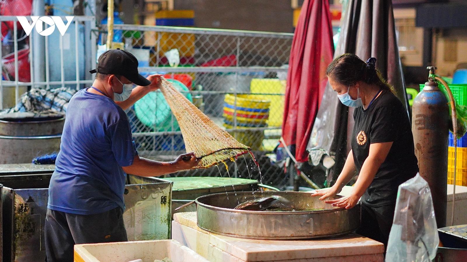Hàng hóa nhộn nhịp ngày đầu mở lại điểm trung chuyển chợ Bình Điền TP.HCM