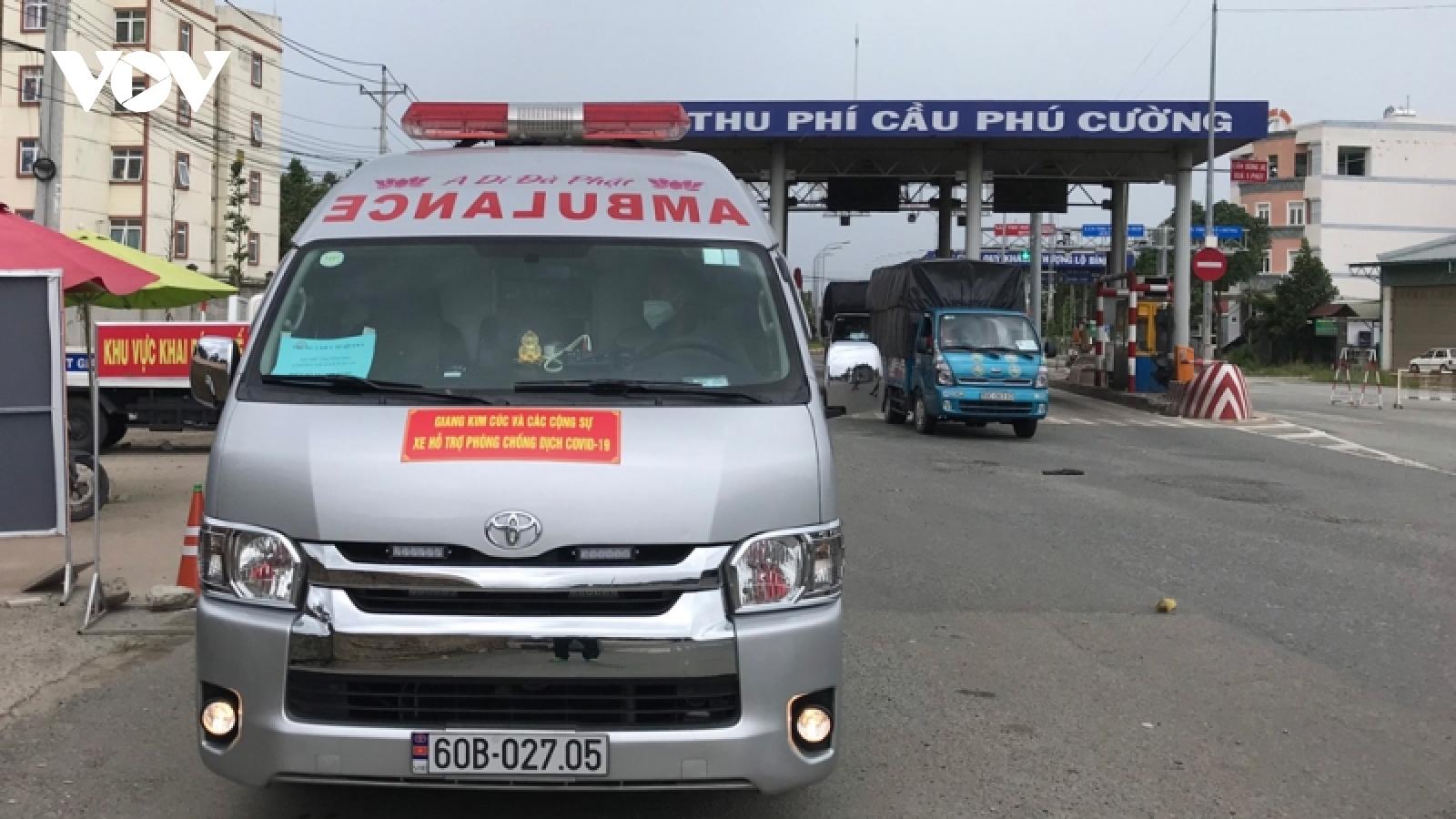 Giả xe cứu thương đểchở ngườitừ TP.HCM về Bình Dương