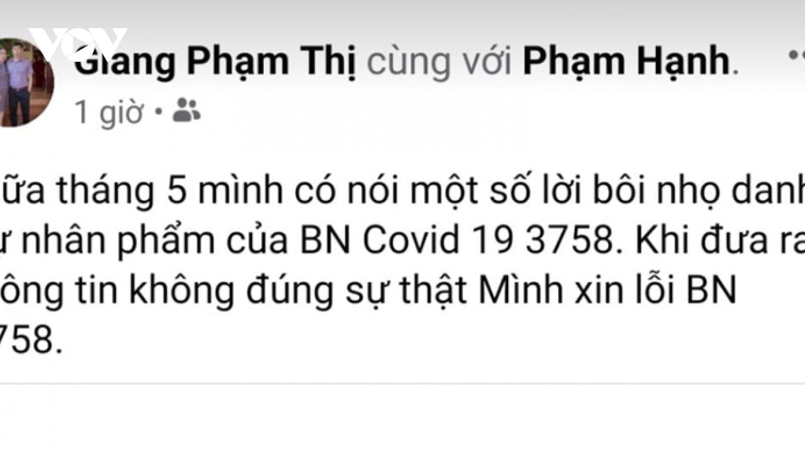 Phải xin lỗi công khai vì xúc phạm danh dự bệnh nhân Covid-19 trên mạng xã hội