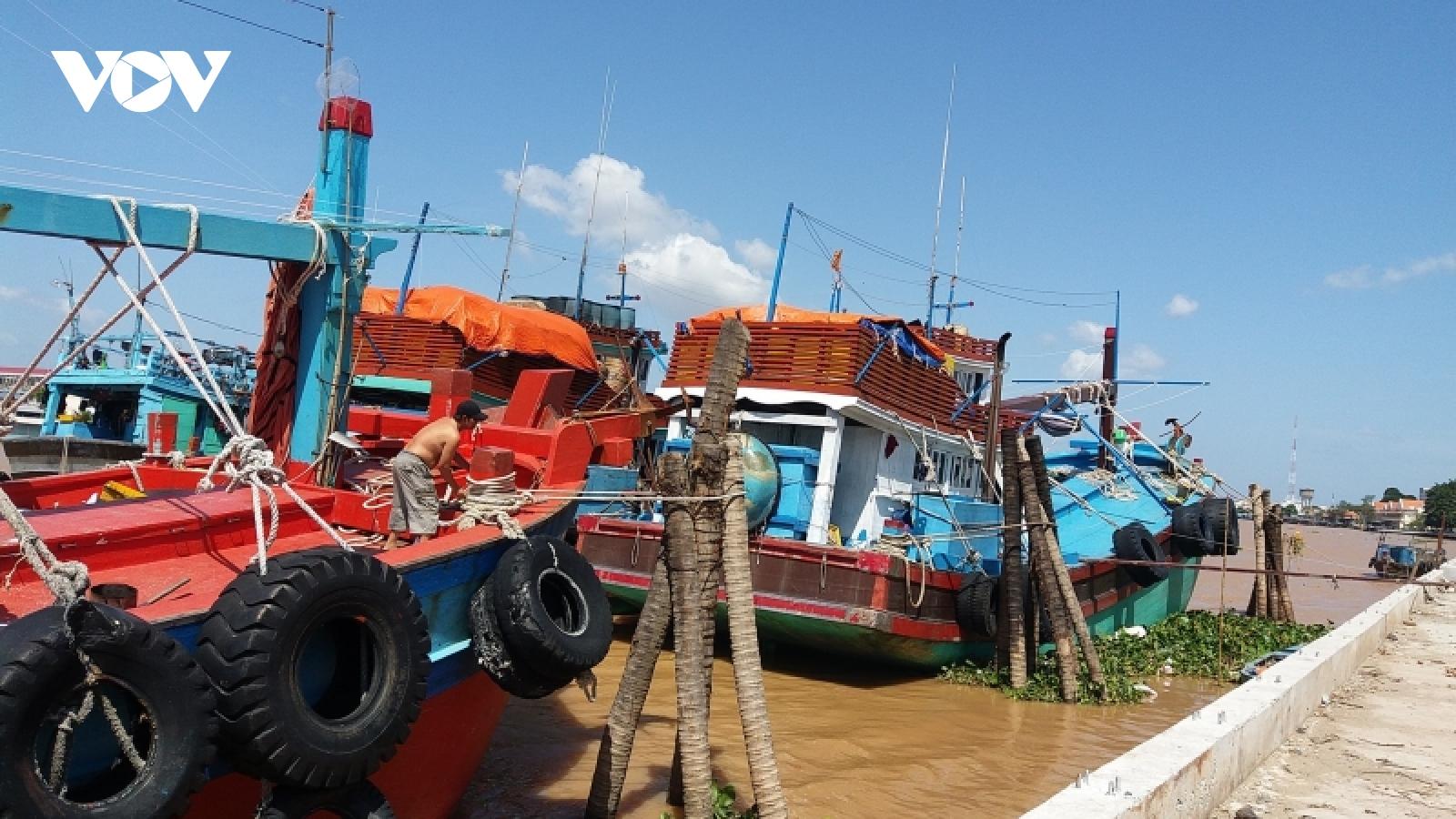 Gặp nhiều khó khăn, ngư dân phải đưa tàu vào bờ