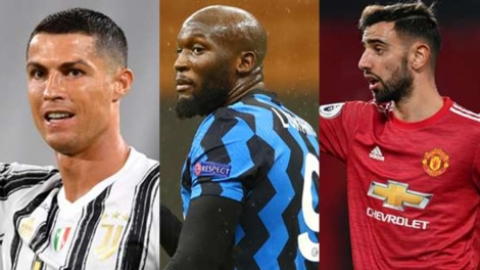 Chiếc giày Vàng châu Âu 2020/2021: Lukaku tăng tốc, Bruno Fernandes vào tốp 10