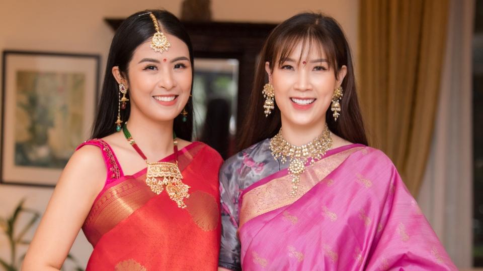 Hoa hậu Ngọc Hân và bạn thân Phí Thuỳ Linh lần đầu mặc trang phục truyền thống Ấn Độ