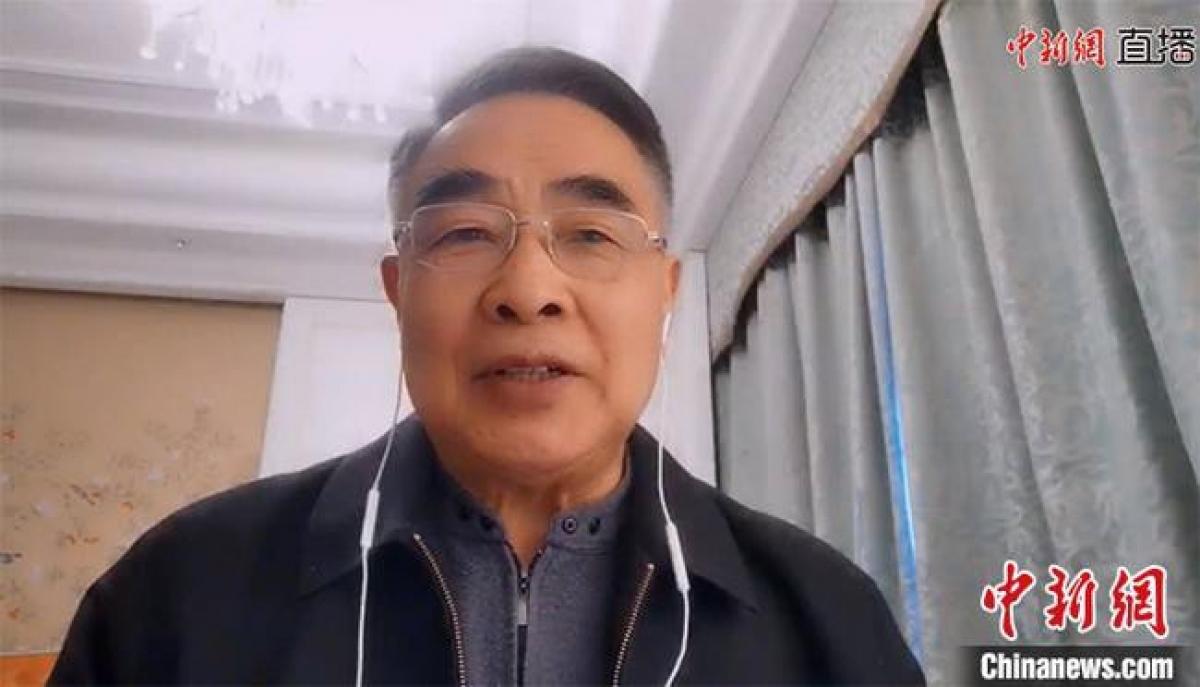 Ông Trương Bá Lễ trong buổi giao lưu trực tuyến với Hãng tin Trung Quốc. Ảnh: Chinanews