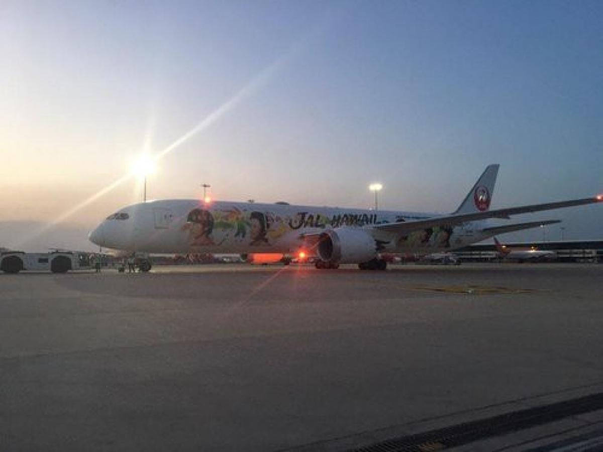 Máy bay của Japan Airlines đưa bệnh nhân 5 tuổi mắc ung thư máu từ Ấn Độ về Hàn Quốc chữa trị.jpg