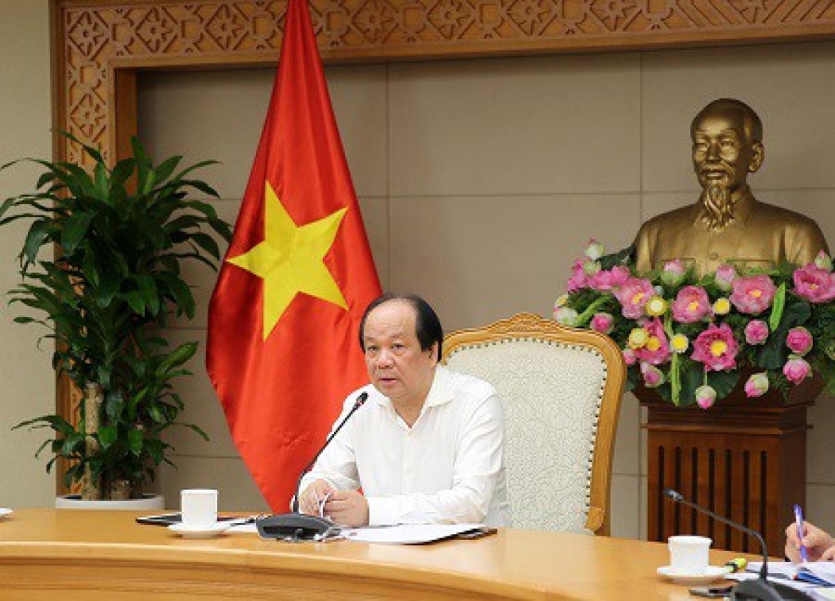 Bộ trưởng, Chủ nhiệm Văn phòng Chính phủ Mai Tiến Dũng chủ trì cuộc họp. (Ảnh: VGP)