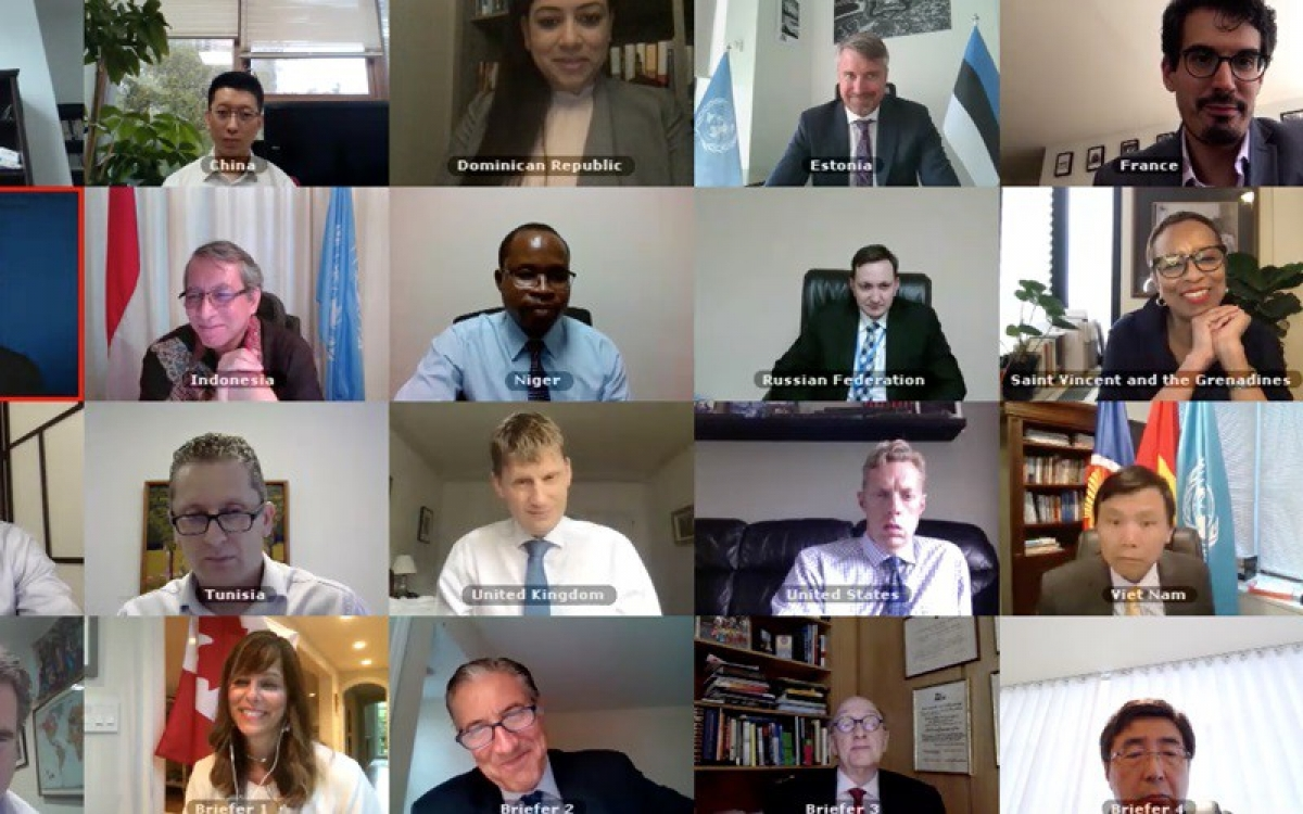 Họp trực tuyến của Hội đồng Bảo an LHQ về tác động của đại dịch Covid-19 tại các nước bị ảnh hưởng của xung đột.