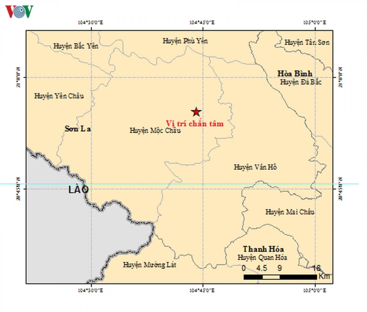 Khu vực xảy ra 2 trận động đất sáng nay 28-7 tại huyện Mộc Châu, tỉnh Sơn La (Ảnh Viện Vật lý địa cầu).