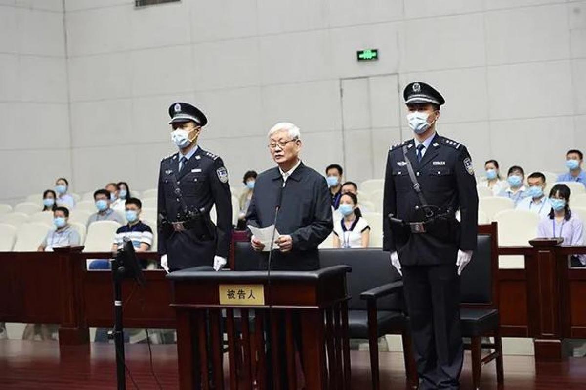 Ông Triệu Chính Vĩnh, nguyên Bí thư Tỉnh ủy Thiểm Tây tại tòa. Ảnh: Tòa án cung cấp