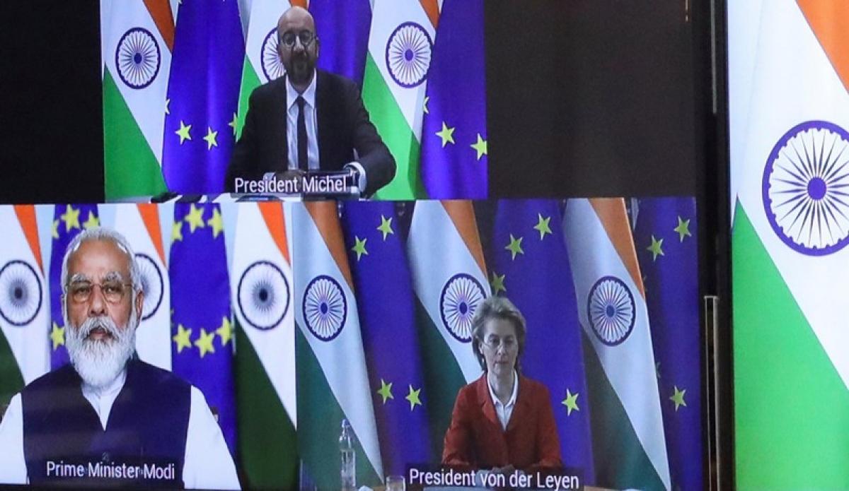 Hội nghị thượng đỉnh Ấn Độ - EU lần thứ 15 diễn ra theo hình thức trực tuyến vì Covid-19. Ảnh: Reuters