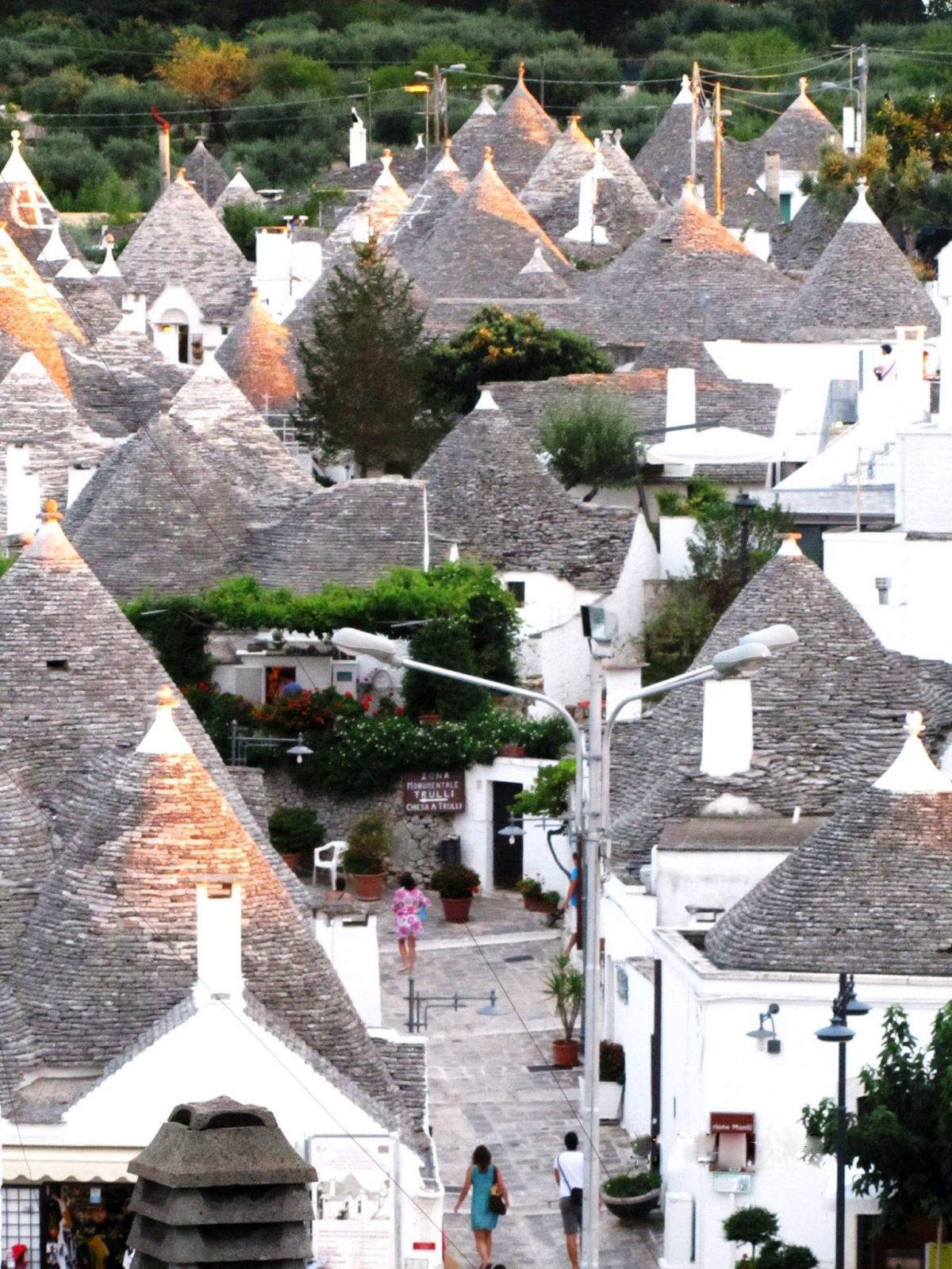 Albero nghĩa là rừng, cây; Bello nghĩa là đẹp. Alberobello nghĩa là rừng cây đẹp, vì xưa kia nơi này được bao phủ bởi rừng sồi cổ. Từ nửa cuối thế kỷ 16, ngôi làng Alberobello thuộc tỉnh Bari là vùng đất phong hầu dưới quyền kiểm soát của gia tộc lãnh chúa phong kiến Acquaviva. Bá tước Conversano của gia tộc này đã đưa những người nông dân đến ngọn đồi phủ đầy cây sồi cổ để khai phá đất cho việc trồng trọt. Sang thế kỷ 17, người kế vị ông là bá tước Giangirolamo II dựng một quán trọ, nhà thờ và bắt đầu quá trình đô thị hoá khu rừng. Nhằm lách luật thuế, bá tước cho phép các tá điền dựng các nhà cư trú khô ráo bằng đá, không trét vôi vữa, để có thể tháo gỡ nhanh khi có thanh tra, vì theo chỉ dụ của nhà vua thì nhà ở cố định phải nộp thuế. Những ngôi nhà đặc biệt này được gọi là Trullo.