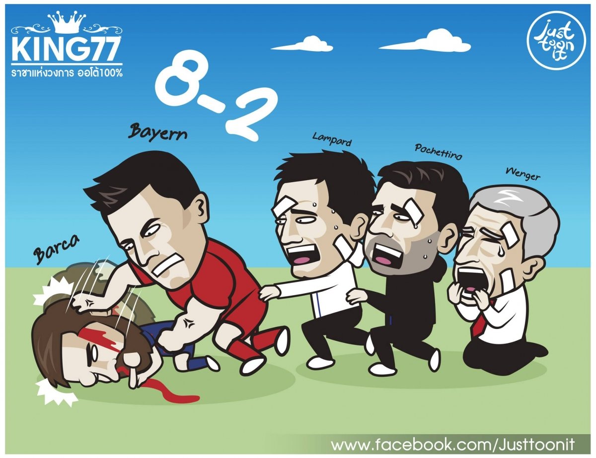 Lionel Messi ôm hận khi gặp phải Robert Lewandowski. (Ảnh: Just Toon It)