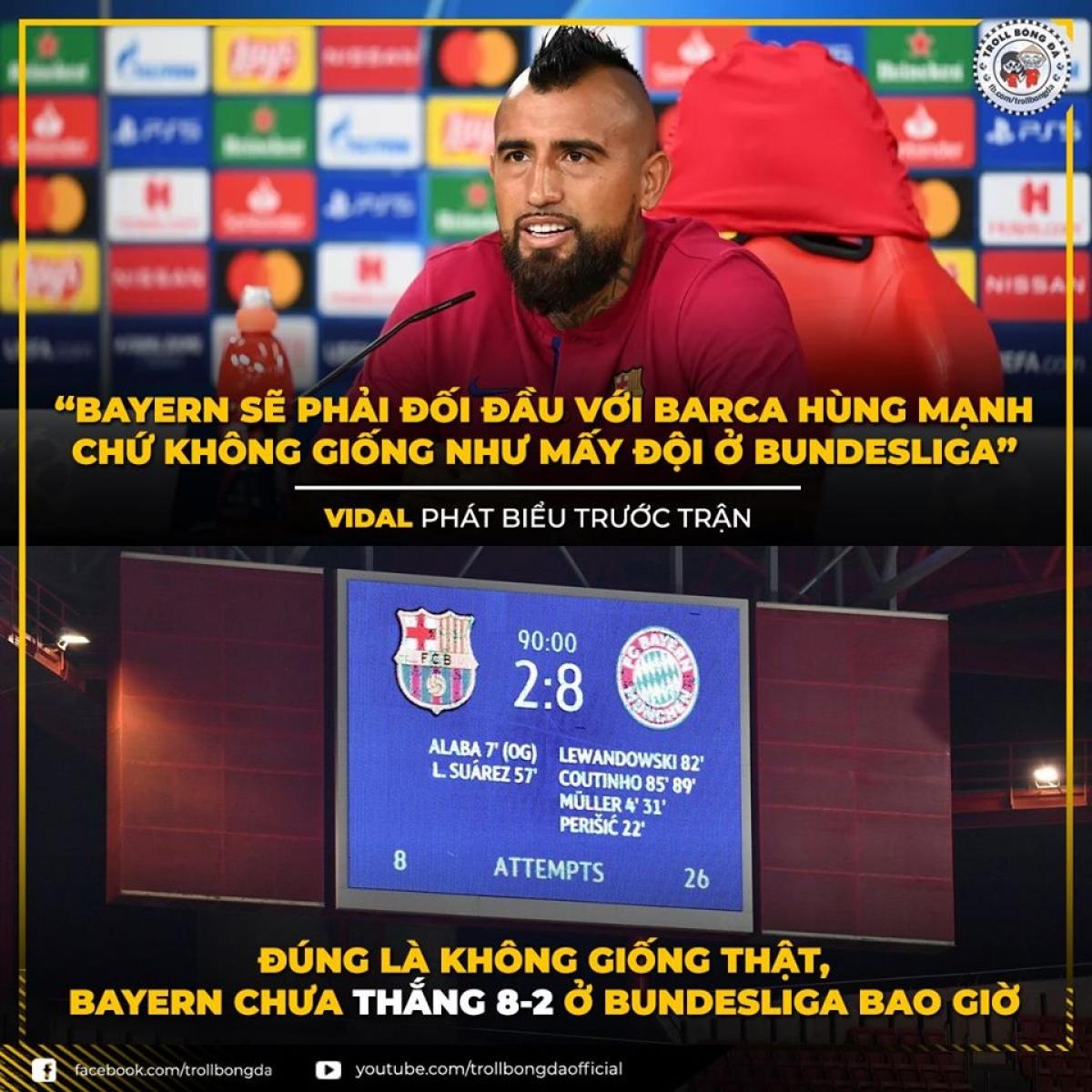 """Barca nhận cái kết """"đắng lòng"""" khi chọc giận Bayern Munich. (Ảnh: Troll Bóng Đá)"""