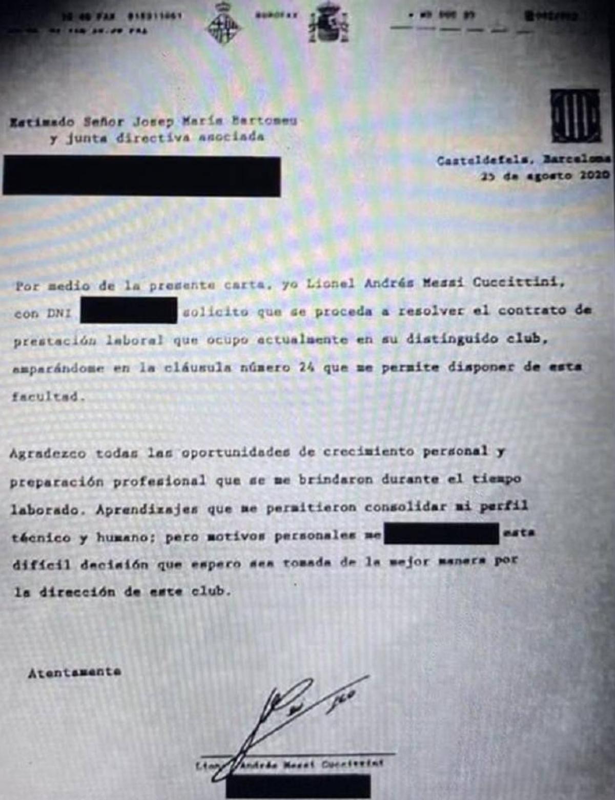 Bản fax Messi yêu cầu chia tay Barca ngay mùa hè này.