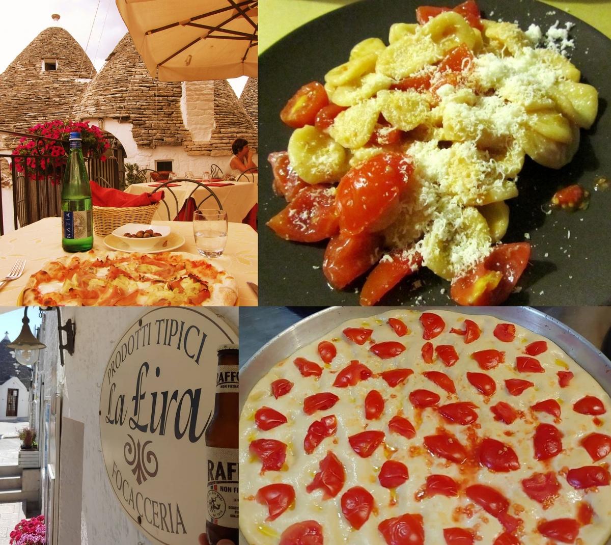 Ở trục đường chính Largo Martellotta là nhiều nhà hàng, quán bar. Bạn có thể tìm ăn các món Ý truyền thống với chất lượng tuyệt vời xung quanh. Đừng quên thưởng thức rượu vang Primitivo nồng nàn được sản xuất từ nho trồng nơi đây và món bánh Focaccia tại nhà hàng La Lira Focacceria (địa chỉ: Largo Martellotta 67, 70011 Alberobello). Đây là món bánh trứ danh của người Ý, có mùi thơm dịu nhẹ của lá hương thảo kết hợp với vừng, cà chua tươi, rau củ và thịt nguội, ruột bánh mềm xốp thơm ngậy. Người Ý thưởng thức món này cùng chút rượu khai vị.