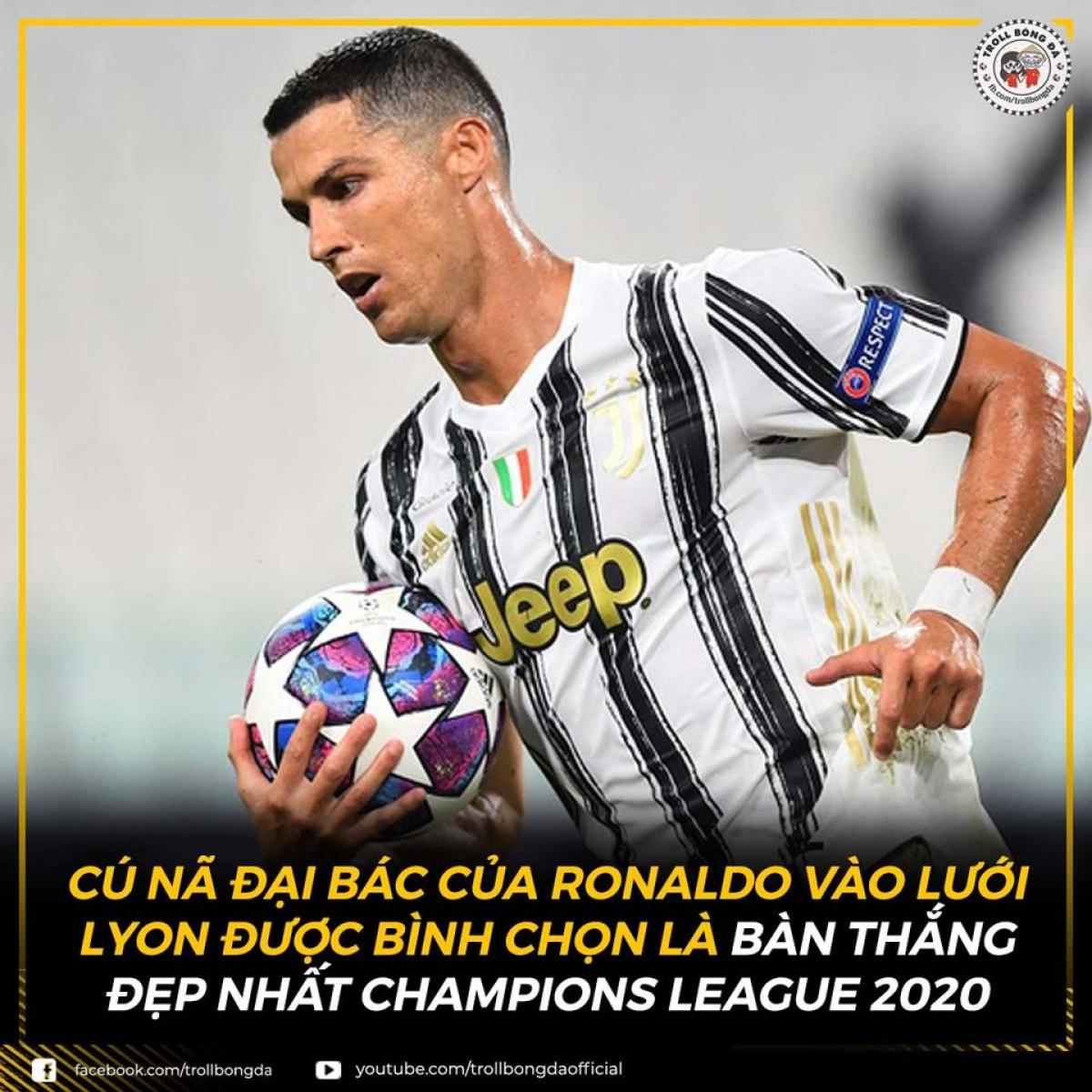 Ronaldo là chủ nhân của bàn thắng đẹp nhất Champions League 2019-2020. (Ảnh: Troll bóng đá).